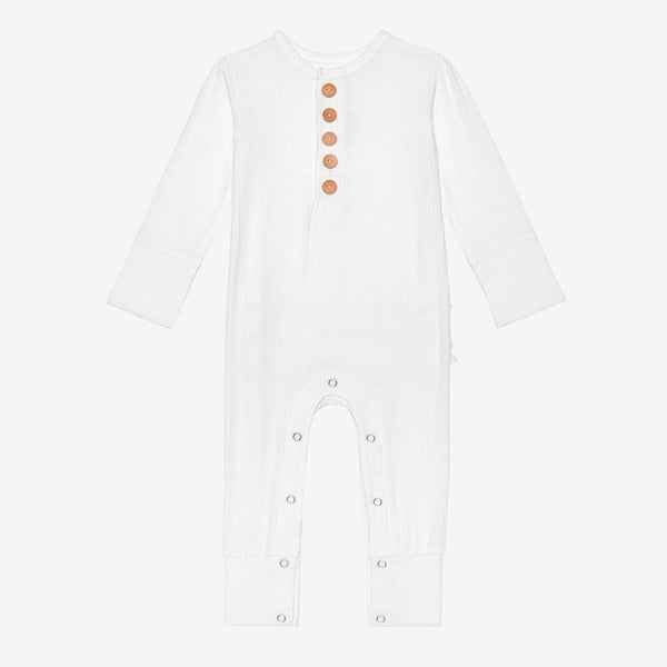 Off White Ribbed Henley Romper