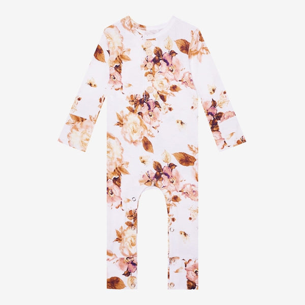 Reese Floral Ruffled Henley Romper