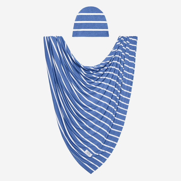 Denim Blue Stripe Swaddle Beanie Set