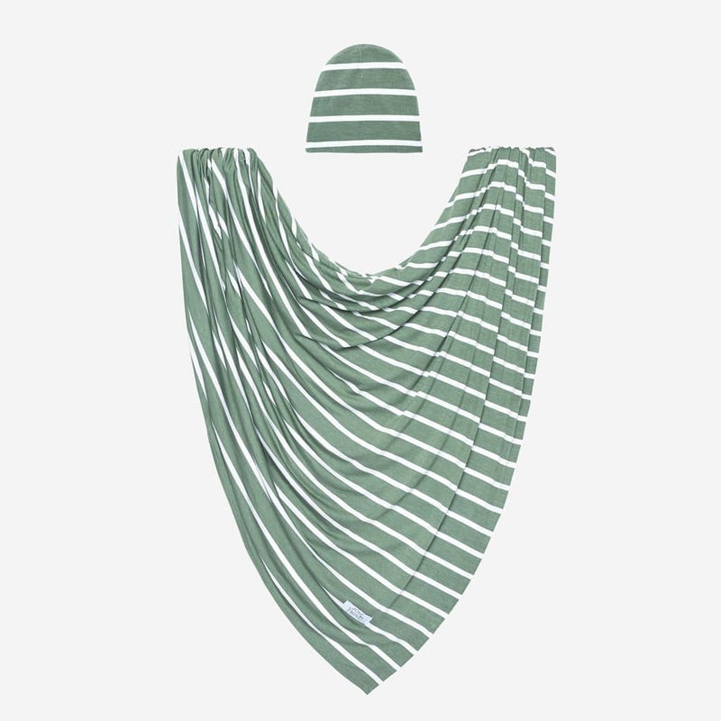 Dark Sage Stripe Swaddle Beanie Set