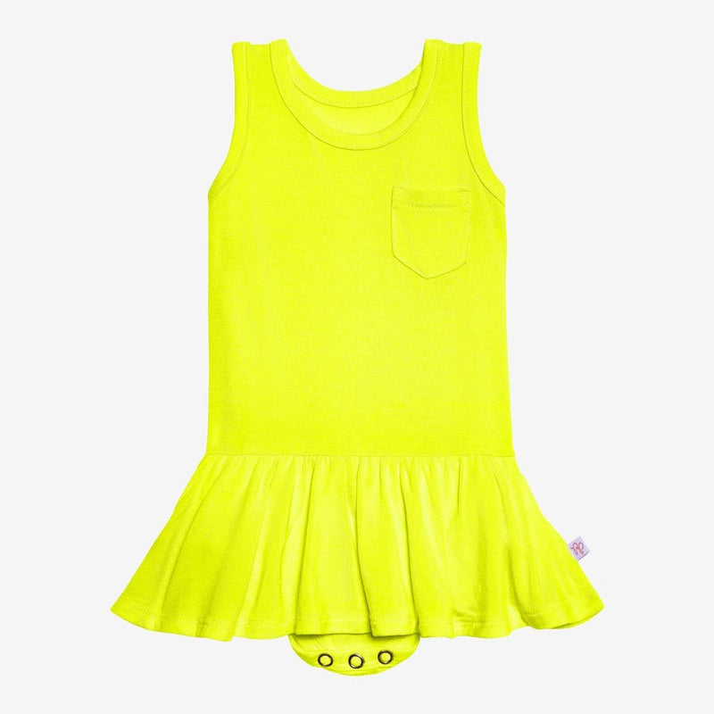 Neon Yellow Racerback Twirl Skirt Bodysuit FINAL SALE
