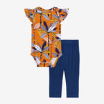 Summer Tropics Ruffled Cap Sleeve Bodysuit, Pants Set