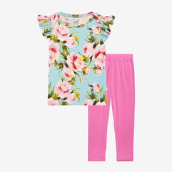 Carolina Floral Ruffled Cap Sleeve Shirt, Pants Set
