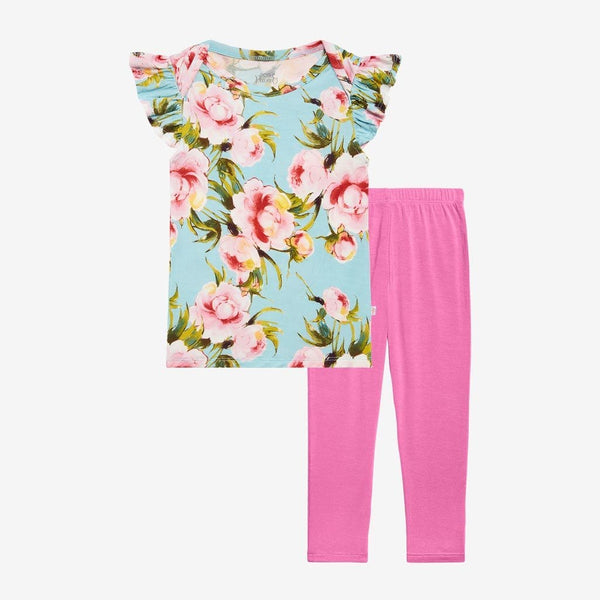 Carolina Floral Ruffled Cap Sleeve Shirt, Pants Set - FINAL SALE