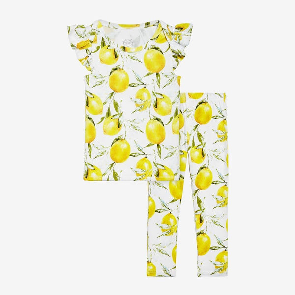 Lemon Ruffled Cap Sleeve Shirt, Pants Set
