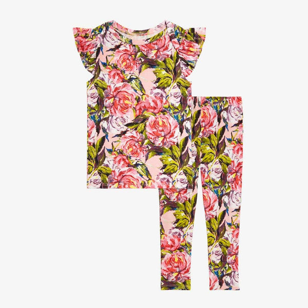 Lillian Floral Ruffled Cap Sleeve Shirt, Pants Set - FINAL SALE