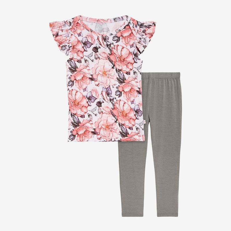 Vivi Floral Ruffled Cap Sleeve Shirt, Pants Set