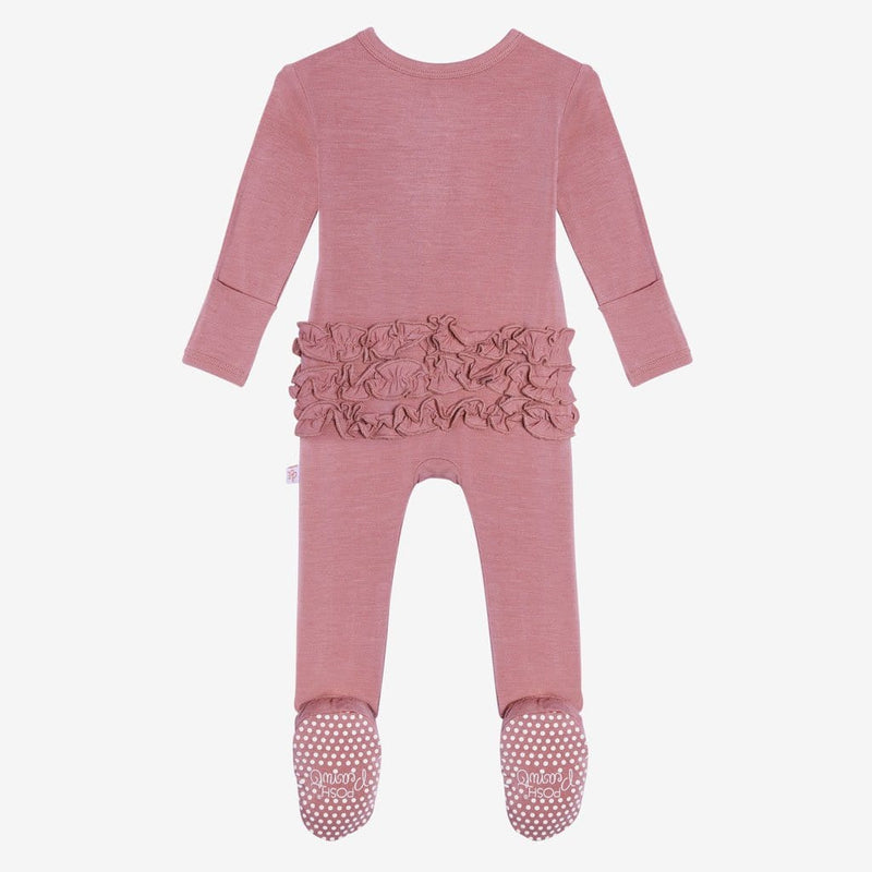 Dusty Rose Footie Ruffled Snap One Piece