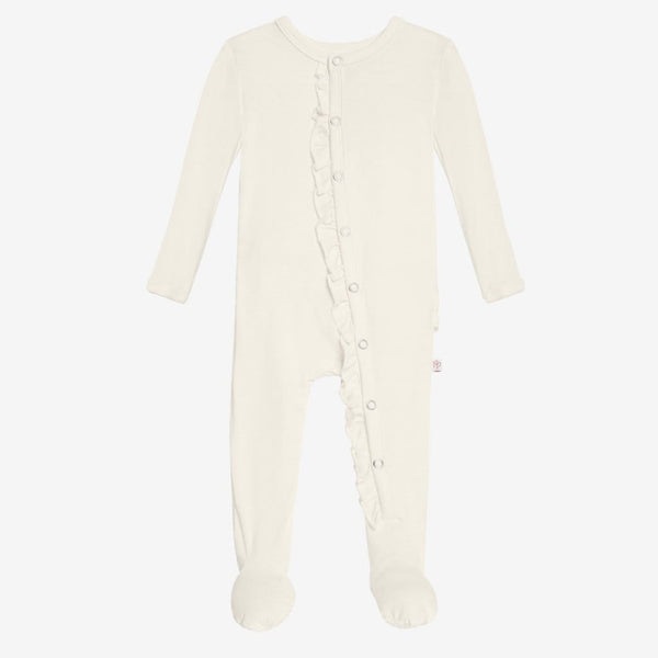 Off White Footie Ruffled Snap One Piece