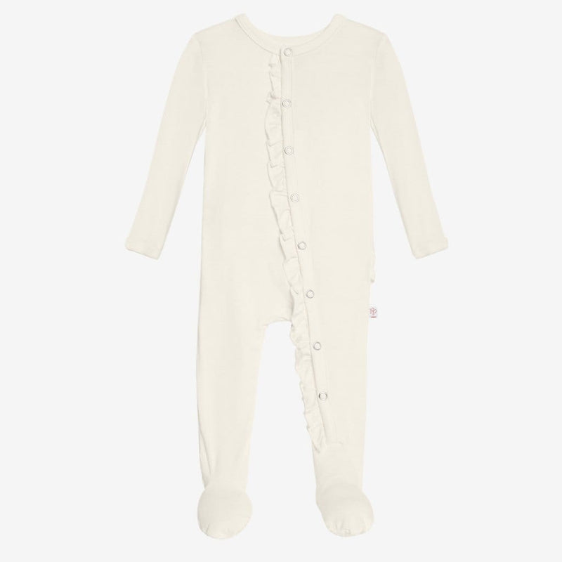 Off White Footie Ruffled Snap One Piece - FINAL SALE