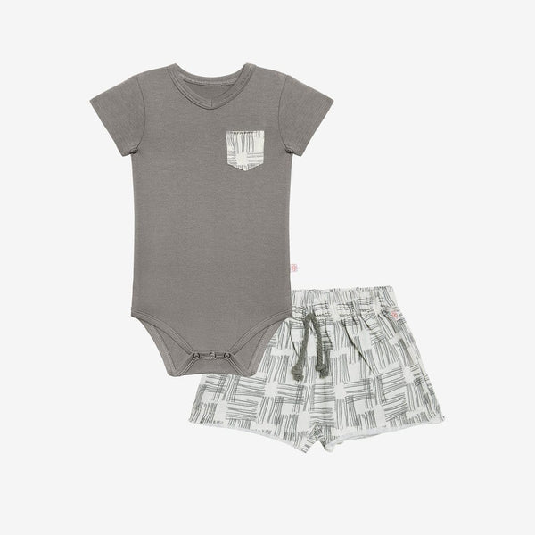 Rivers Gray Terry Shorts & Bodysuit Set - FINAL SALE