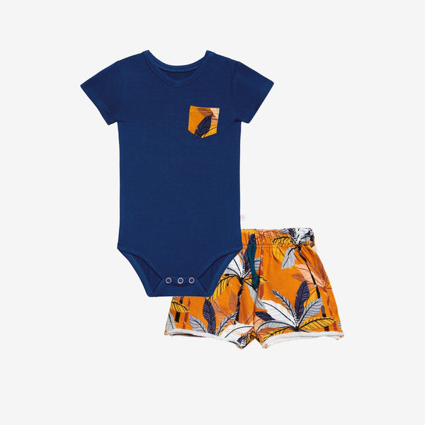 Summer Tropics Terry Shorts & Bodysuit Set - FINAL SALE