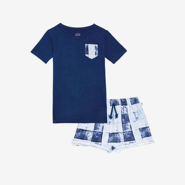 Denim Plaid Terry Sweat Shorts, Shirt Set - FINAL SALE