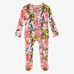 Lillian Floral Footie Ruffled Zippered One Piece - FINAL SALE