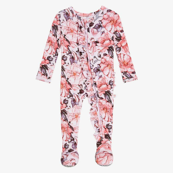 Vivi Floral Footie Ruffled Zippered One Piece - FINAL SALE