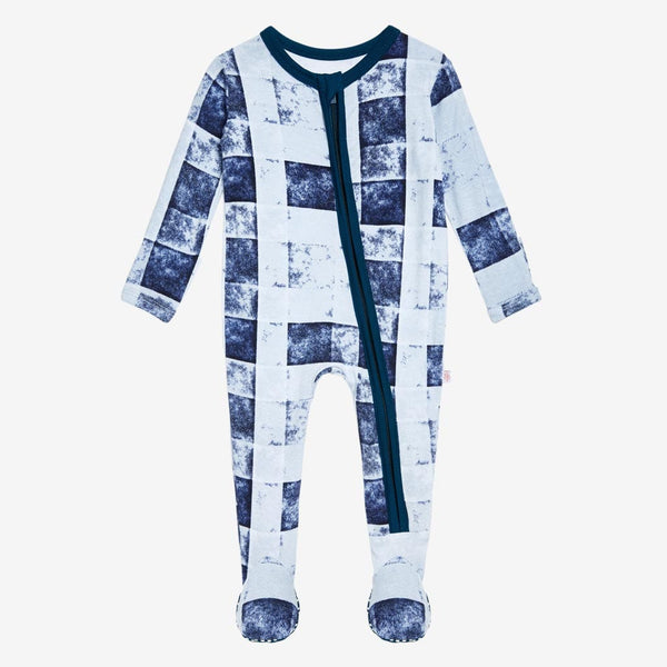 Denim Plaid Footie Zippered One Piece - FINAL SALE