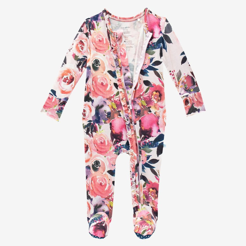 Dusk Rose Footie Ruffled Zippered One Piece