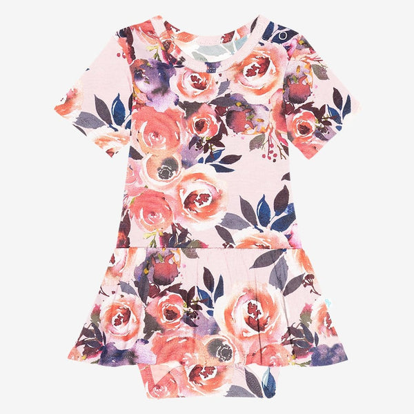 Dusk Rose Short Sleeve Twirl Skirt Bodysuit