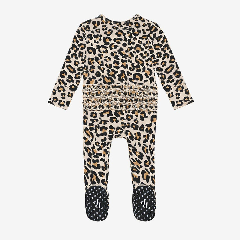 Lana Leopard Tan Footie Ruffled Zippered One Piece