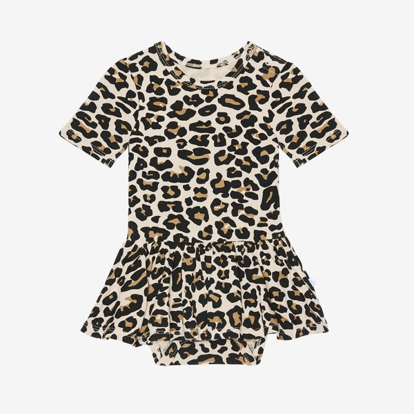 Lana Leopard Tan Short Sleeve Twirl Skirt Bodysuit