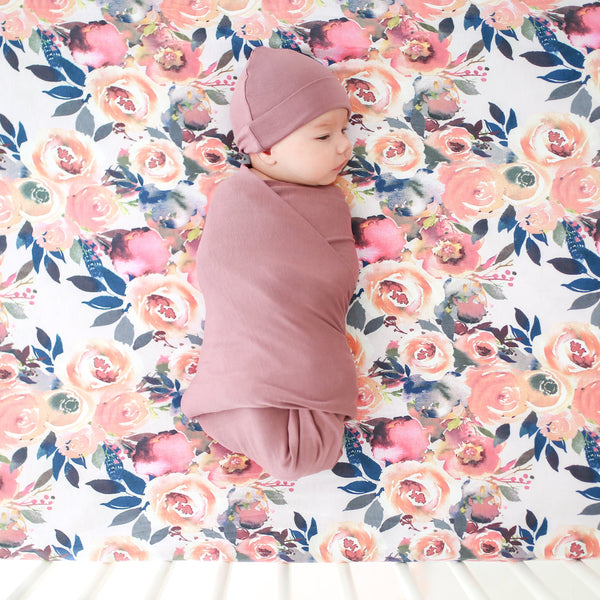 Dark Mauve Swaddle Beanie Set - FINAL SALE