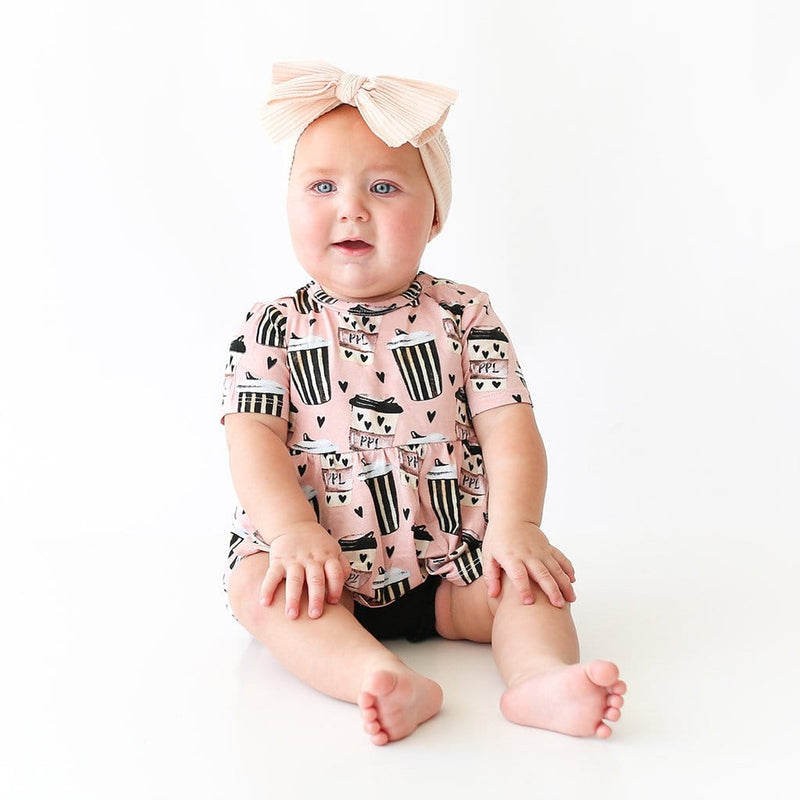 Baby on Posh Pumpkin Latte Short Sleeve Peplum Ruffled Bummie Set