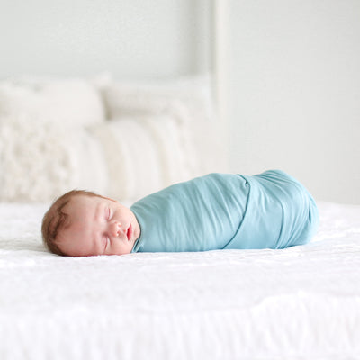Posh-Peanut-Viscose-Bamboo-Stay-dry-fabric-reliably-chic-and-perfectly-practical-uniquely-designed-of-a-kind-swaddle set-in-teal