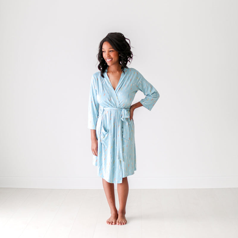 Posh-Peanut-Viscose-Bamboo-Stay-dry-fabric-reliably-chic-and-perfectly-practical-uniquely-designed-of-a-kind-teal raindrops mommy robe
