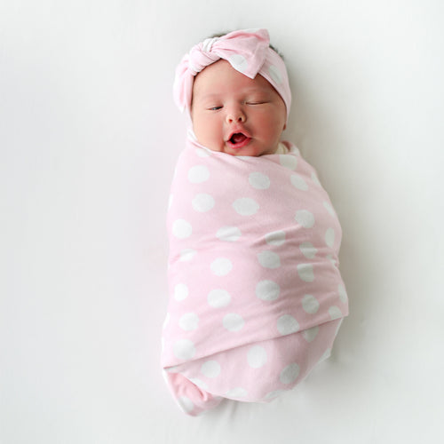 baby swaddle in pink polka dot for girl,Posh-Peanut-Viscose-Bamboo-Stay-dry-fabric-reliably-chic-and-perfectly-practical-uniquely-designed-of-a-kind-red-rose-swaddle-set