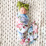 Posh-Peanut-Viscose-Bamboo-Stay-dry-fabric-reliably-chic-and-perfectly-practical-uniquely-designed-of-a-kind-swaddle set in hydrangea