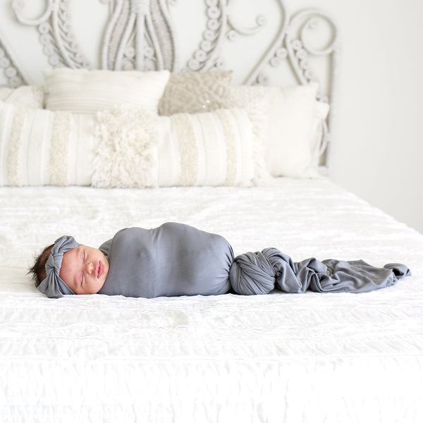 Stone Gray Swaddle Headband Set - FINAL SALE