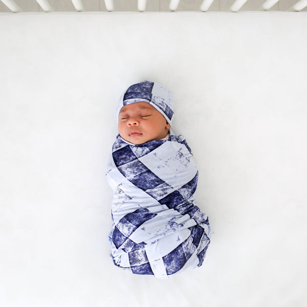 Denim Plaid Swaddle Beanie Set FINAL SALE