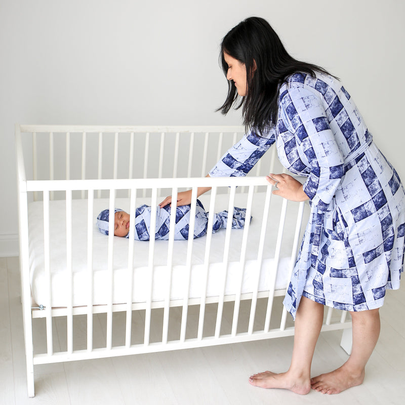 Denim Plaid Swaddle Set
