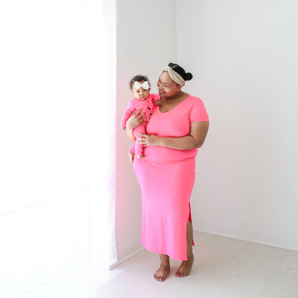 Neon Pink Mommy Maxi Dress FINAL SALE