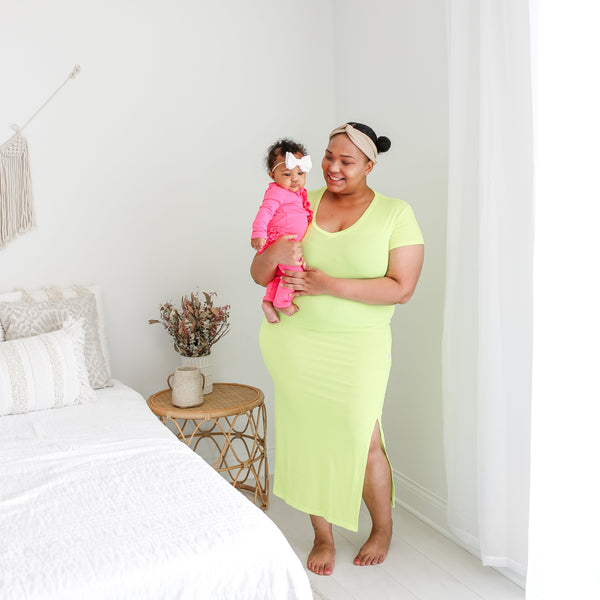 Neon Yellow Mommy Maxi Dress FINAL SALE