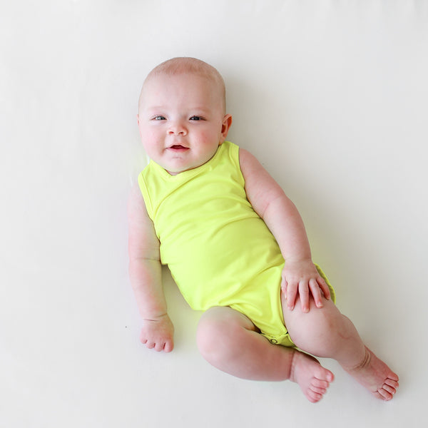 Neon Yellow Racerback Tank Bodysuit  FINAL SALE