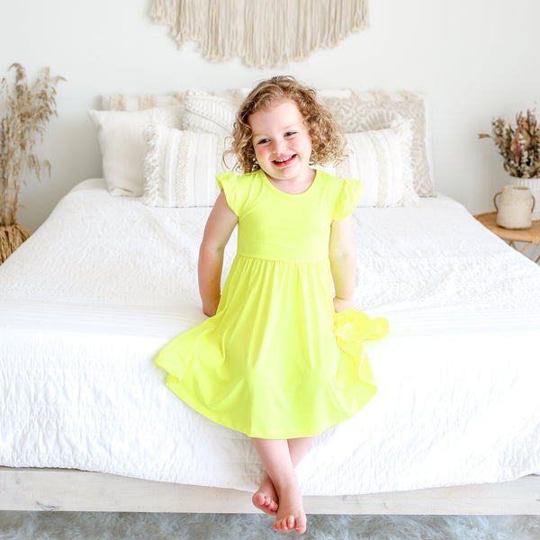 Neon Yellow Twirl Dress FINAL SALE