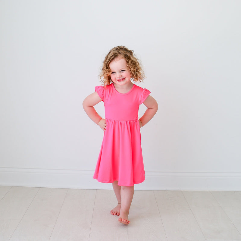 Neon Pink Twirl Dress - FINAL SALE