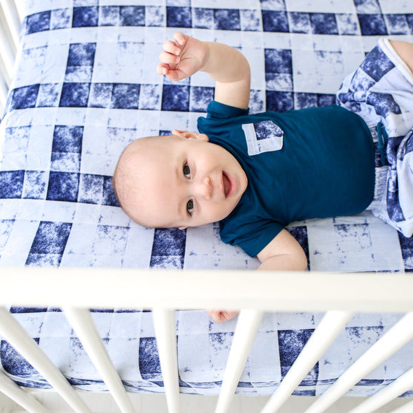 Denim Plaid Crib Sheet - FINAL SALE