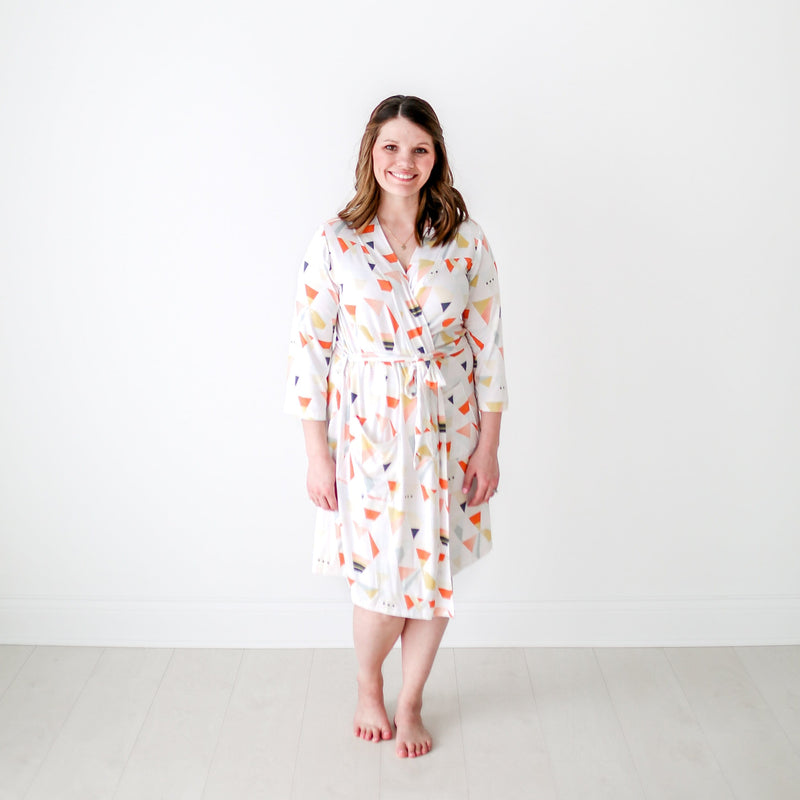 Posh-Peanut-Viscose-Bamboo-Stay-dry-fabric-reliably-chic-and-perfectly-practical-uniquely-designed-of-a-kind-retro triangle mommy robe