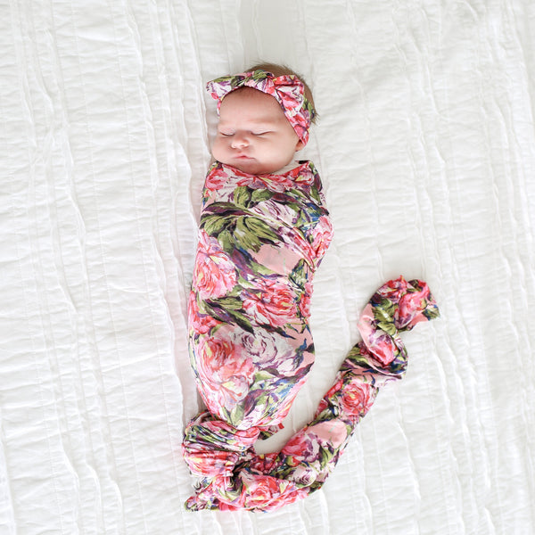 Lillian Floral Swaddle Headband Set - FINAL SALE