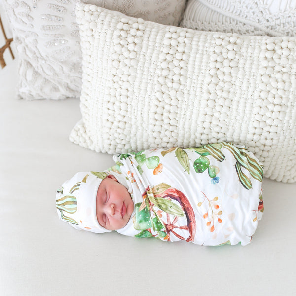 Cactus & Wooden Wheel Swaddle Set - FINAL SALE