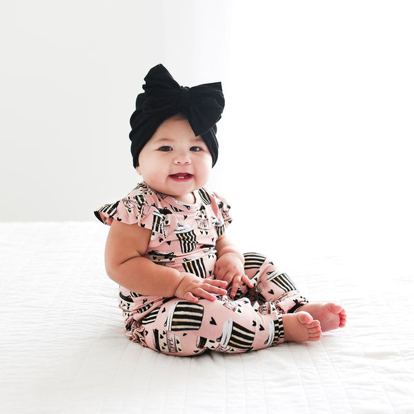 Baby on Posh Pumpkin Latte Ruffled Cap Sleeve Romper