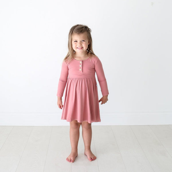 Blush Rose Ribbed Long Sleeve Twirl Dress