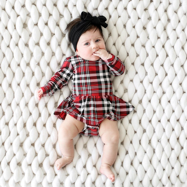 Noah Plaid Long Sleeve Twirl Skirt Bodysuit