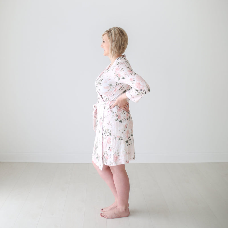 Posh-Peanut-Viscose-Bamboo-Stay-dry-fabric-reliably-chic-and-perfectly-practical-uniquely-designed-of-a-kind-mommy-robe-in vintage pink rose