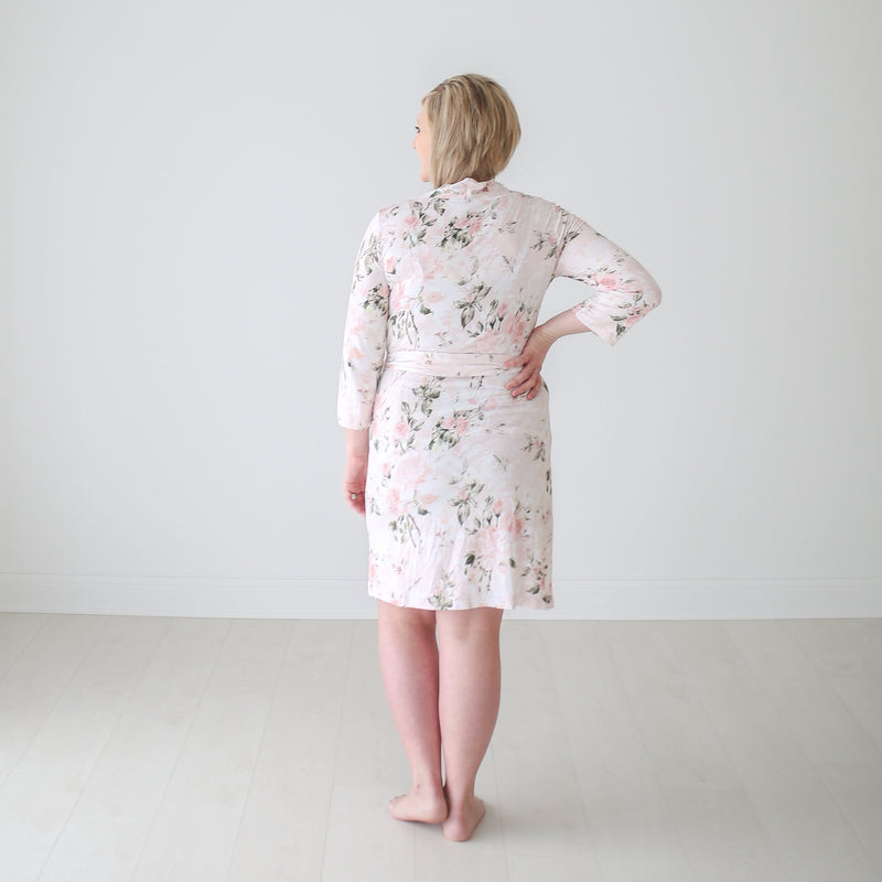 Posh-Peanut-Viscose-Bamboo-Stay-dry-fabric-reliably-chic-and-perfectly-practical-uniquely-designed-of-a-kind-mommy-robe-in-vintage pink rose