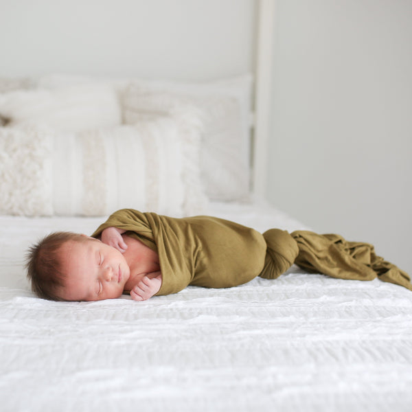 Olive Green Swaddle Beanie Set - FINAL SALE