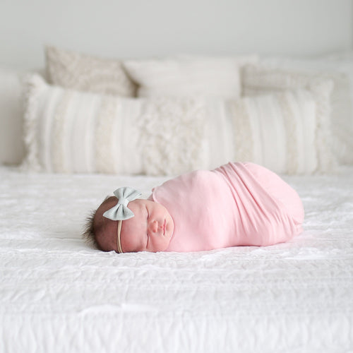 Posh-Peanut-Viscose-Bamboo-Stay-dry-fabric-reliably-chic-and-perfectly-practical-uniquely-designed-of-a-kind-swaddle set in pink