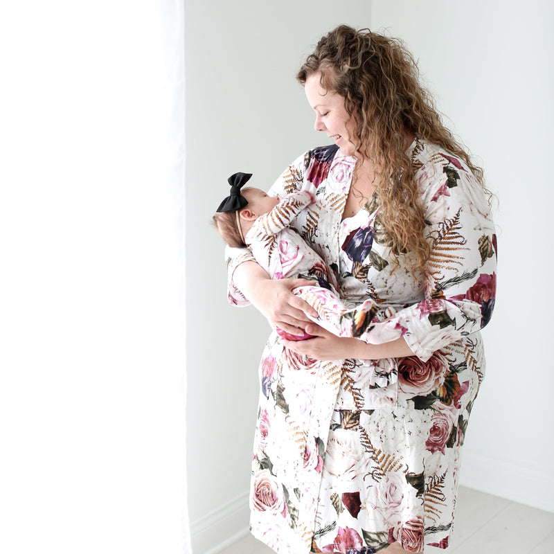 Posh-Peanut-Viscose-Bamboo-Stay-dry-fabric-reliably-chic-and-perfectly-practical-uniquely-designed-of-a-kind black rose mommy robe